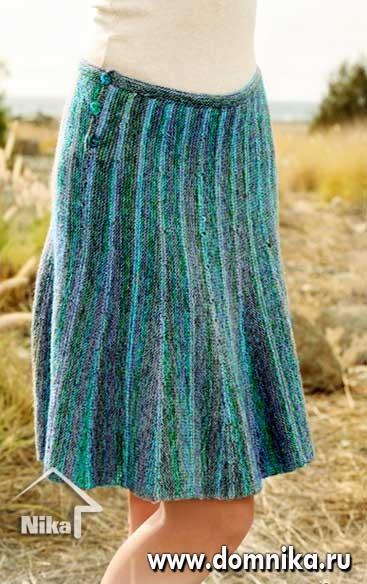 Поперечное вязание юбки спицами
