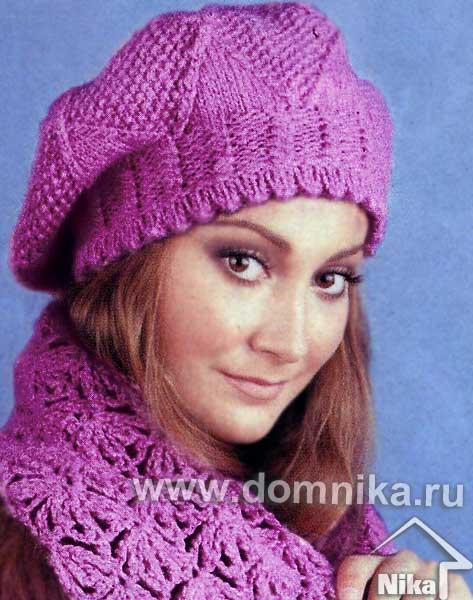 вязать женскую шапку на спицах описание схемы с фото