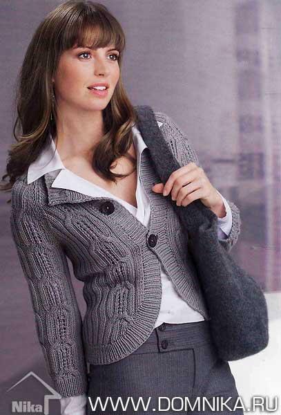 Вязание спицами женского жакета для офиса