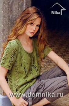 Ажурный пуловер с листочками
