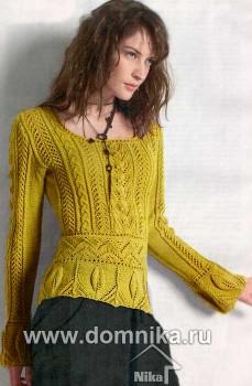 Пуловер с листочками и косами