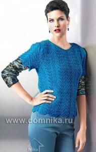Пуловер васильковый