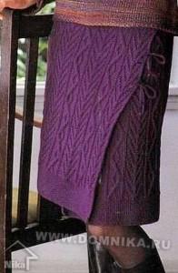Юбка с запахом вязание спицами