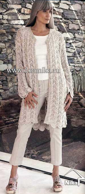 летнее вязаное пальто спицами описание и схема вязания