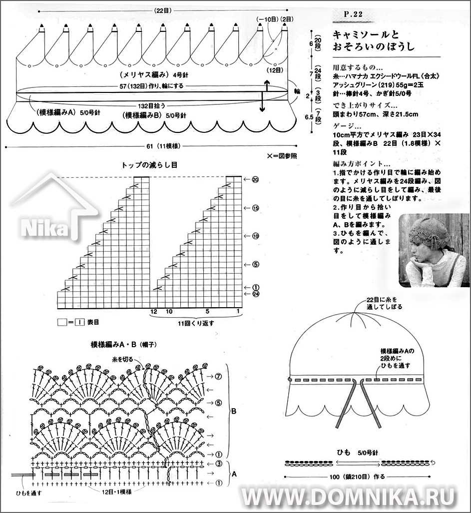 Вязание крючком шапок по японским схемам