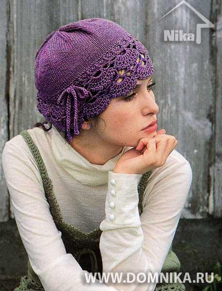Очаровательная шапочка (вязание спицами и крючком) .