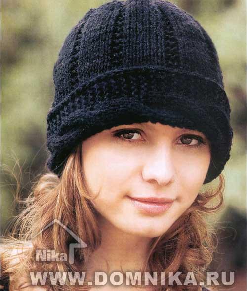 Вязание шапок спицами с отворотом для женщин 135