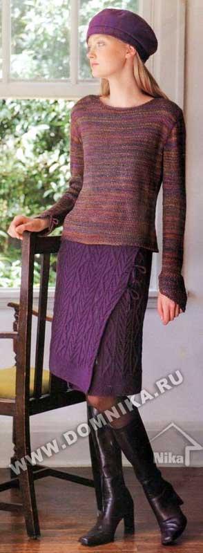Красивая теплая юбочка с запахом.  Осенью и зимой такая вязаная юбка будет очень кстати.