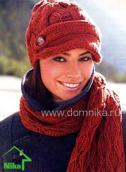 шапка и шарф вязание спицами