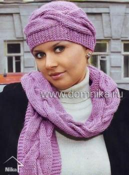 Шапочка и шарф с узором