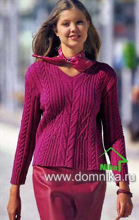 связать свитер косами схемы
