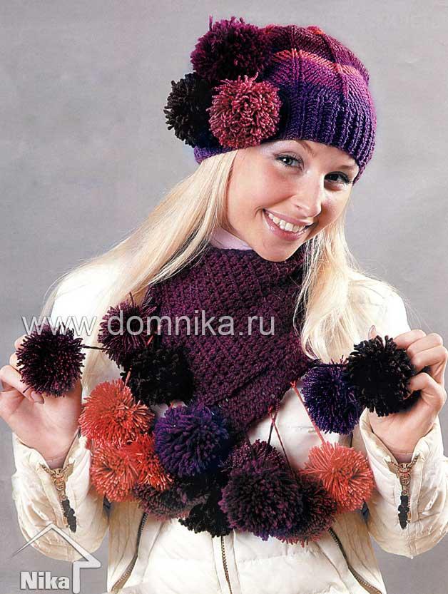 Вязанные береты шарф спицами