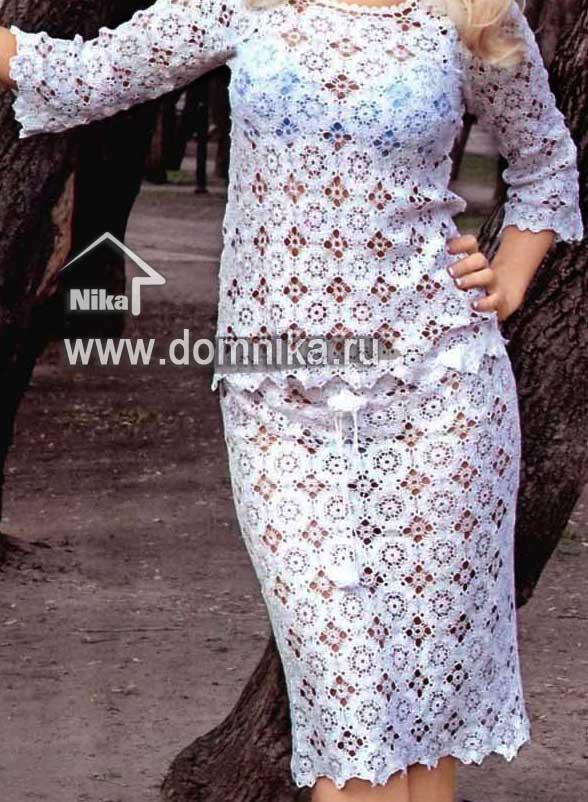 Вязаная юбка крючком модели