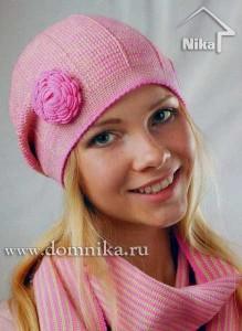 Шапочка с розочкой и шарф