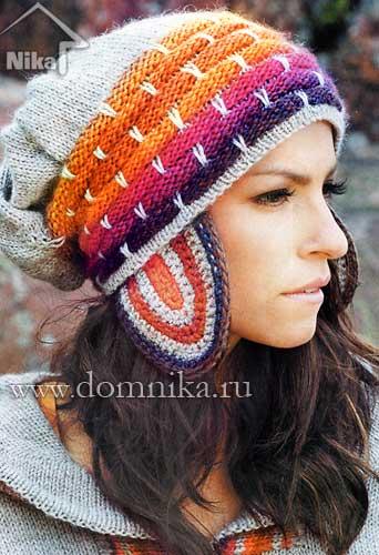Цветная шапка с ушками