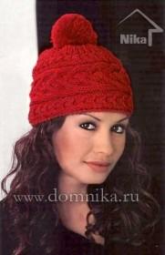 красная шапка с поперечной косой