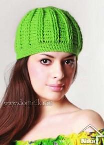 Зеленая шапка крючком