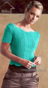 Женская вязаная кофточка с коротким рукавом