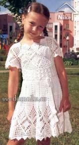 Белое платье для девочки. Вязание крючком