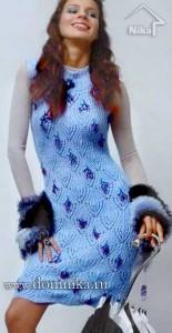 Голубое платье с ажурными ромбами