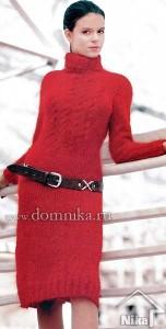 Красное платье из мохеровой пряжи