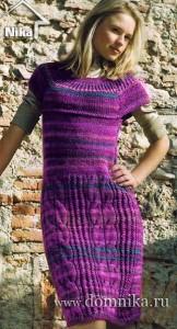 Бордовое платье из меланжевой пряжи