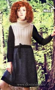 Теплое платье с поясом