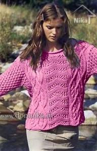 Пуловер с ажурными и рельефными узорами