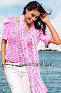 Ажурный пуловер спицами и кружевной шарф крючком