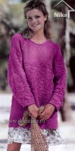Пуловер покроя реглан с рельефным узором