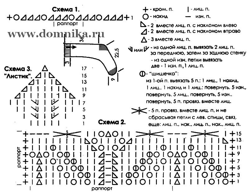 Схема вязания носков акул 974