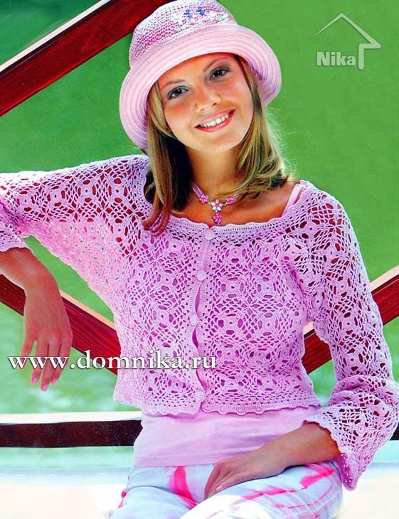 Кофточка из розовой пряжи, связанная крючком квадратными мотивами. http://www.domnika.ru/page/koftochk...
