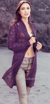Длинное ажурное пальто
