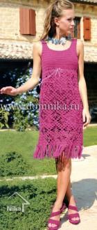 Бордовое ажурное платье