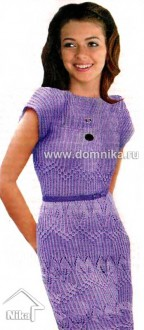Сиреневое ажурное платье