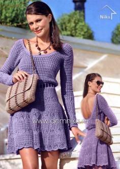 Сиреневое платье с открытой спиной