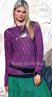 Бордовый пуловер с узором вееры