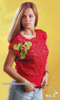 Красный топ с цветком