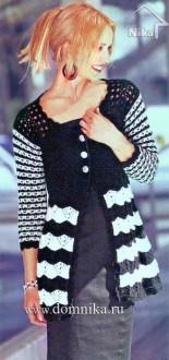 Черно-белый жакет с полосатыми рукавами