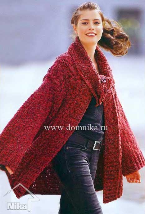 вязаное пальто с косами и широким воротником схема вязания спицами