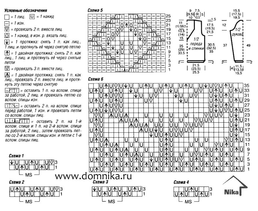 Узоры трехлистник для вязания спицами со схемами 64