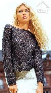 Ажурный женский пуловер спицами