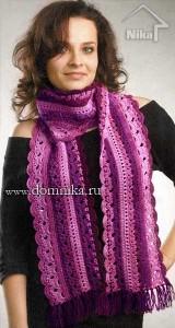 Ажурный шарф крючком в розовых тонах