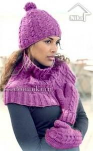 Вязаная шапочка и воротник - шарф спицами