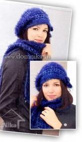 Вязаный комплект: шапка и шарф спицами