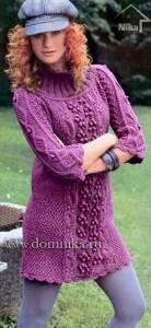 вязаное платье с шишечками
