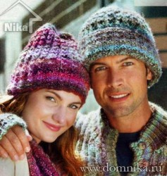 Женская и мужская вязаные шапки