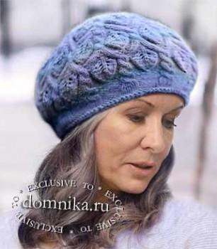Модные вязаные шапки для женщин 60 лет