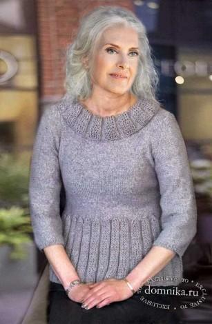 Стильный вязаный джемпер для дам в возрасте за 60