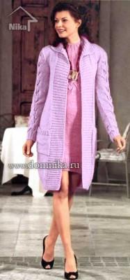 Элегантное вязаное пальто с косами
